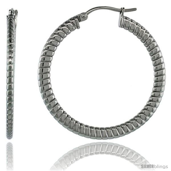 https://www.silverblings.com/2038-thickbox_default/surgical-steel-1-1-2-in-hoop-earrings-spiral-embossed-pattern-4-mm-flat-tube-feather-weigh.jpg
