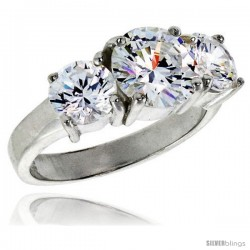 Sterling Silver 1.9 Carat Size Brilliant Cut Cubic Zirconia Bridal Ring