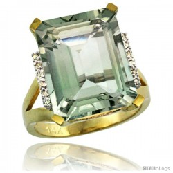 14k Yellow Gold Diamond Green-Amethyst Ring 12 ct Emerald Cut 16x12 stone 3/4 in wide