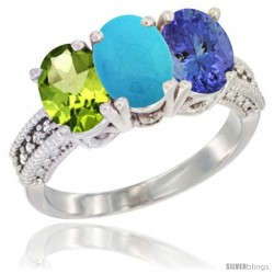 14K White Gold Natural Peridot, Turquoise & Tanzanite Ring 3-Stone Oval 7x5 mm Diamond Accent