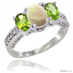 14k White Gold Ladies Oval Natural Opal 3-Stone Ring with Peridot Sides Diamond Accent
