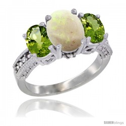 14K White Gold Ladies 3-Stone Oval Natural Opal Ring with Peridot Sides Diamond Accent