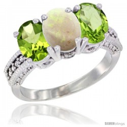 14K White Gold Natural Opal & Peridot Sides Ring 3-Stone Oval 7x5 mm Diamond Accent