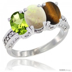 14K White Gold Natural Peridot, Opal & Tiger Eye Ring 3-Stone Oval 7x5 mm Diamond Accent