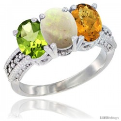 14K White Gold Natural Peridot, Opal & Whisky Quartz Ring 3-Stone Oval 7x5 mm Diamond Accent