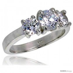 Sterling Silver 1.0 Carat Size Brilliant Cut Cubic Zirconia Bridal Ring