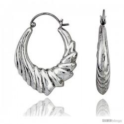 """Sterling Silver High Polished Hoop Earrings, 1 3/16"""" Long"""