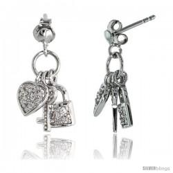 """Sterling Silver Jeweled Post Earrings, w/ Heart Key Padlock & Cubic Zirconia, 5/8"""" (16 mm)"""