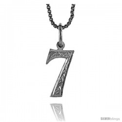 Sterling Silver number 7 Charm, 1/2 in Tall