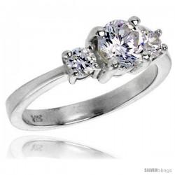 Sterling Silver 1.0 Carat Size Brilliant Cut Cubic Zirconia Bridal Ring -Style Rcz412