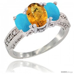 10K White Gold Ladies Oval Natural Whisky Quartz 3-Stone Ring with Turquoise Sides Diamond Accent