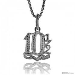 Sterling Silver number 10 Charm, 1/2 in Tall