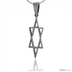 Stainless Steel Star of David Pendant 1 1/4 in tall, w/ 30 in Chain