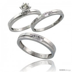 10k White Gold Diamond Trio Wedding Ring Set His 4mm & Hers 3mm