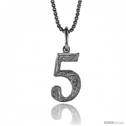 Sterling Silver number 5 Charm, 1/2 in Tall