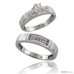 10k White Gold 2-Piece Diamond wedding Engagement Ring Set for Him & Her, 4.5mm & 5mm wide