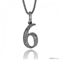 Sterling Silver number 6 Charm, 1/2 in Tall