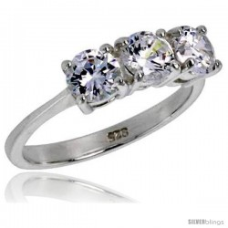 Sterling Silver .47 Carat Size Brilliant Cut Cubic Zirconia Bridal Ring -Style Rcz413