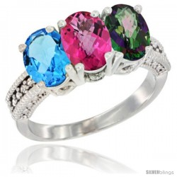 14K White Gold Natural Swiss Blue Topaz, Pink Topaz & Mystic Topaz Ring 3-Stone 7x5 mm Oval Diamond Accent