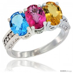 14K White Gold Natural Swiss Blue Topaz, Pink Topaz & Citrine Ring 3-Stone 7x5 mm Oval Diamond Accent