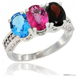 14K White Gold Natural Swiss Blue Topaz, Pink Topaz & Garnet Ring 3-Stone 7x5 mm Oval Diamond Accent