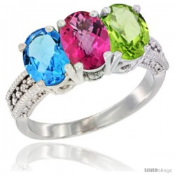 14K White Gold Natural Swiss Blue Topaz, Pink Topaz & Peridot Ring 3-Stone 7x5 mm Oval Diamond Accent