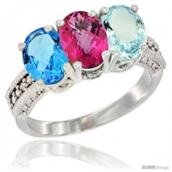 14K White Gold Natural Swiss Blue Topaz, Pink Topaz & Aquamarine Ring 3-Stone 7x5 mm Oval Diamond Accent