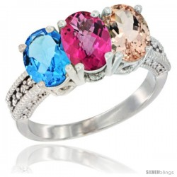14K White Gold Natural Swiss Blue Topaz, Pink Topaz & Morganite Ring 3-Stone 7x5 mm Oval Diamond Accent