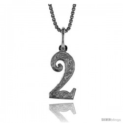 Sterling Silver number 2 Charm, 1/2 in Tall