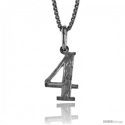 Sterling Silver number 4 Charm, 1/2 in Tall