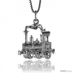 Sterling Silver Steam Locomotive Pendant, 7/8 in Tall
