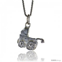 Sterling Silver Baby Stroller Pendant, 1/2 in Tall
