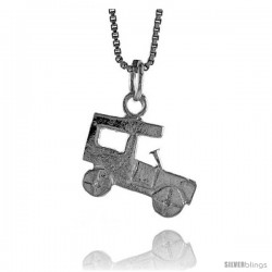Sterling Silver Antique Car Pendant, 1/2 in Tall