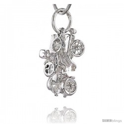 Sterling Silver Horseless Carriage Pendant, 3/4 in Tall