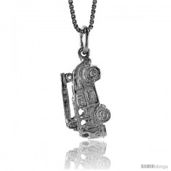 Sterling Silver Fire Truck Pendant, 3/4 in Tall