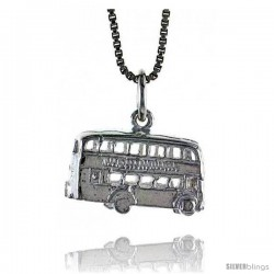 Sterling Silver Double Decker Bus Pendant, 3/8 in Tall