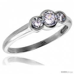 Sterling Silver .23 Carat Size Brilliant Cut Cubic Zirconia Bridal Ring -Style Rcz415