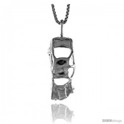 Sterling Silver Wrecked Car Pendant, 7/8 in Tall