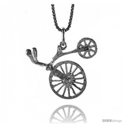 Sterling Silver Antique Bicycle Pendant, 7/8 in Tall