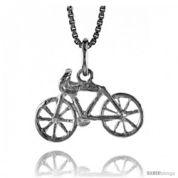 Sterling Silver Bicycle Pendant, 3/8 in Tall