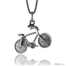 Sterling Silver Bicycle Pendant, 1/2 in Tall