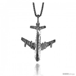 Sterling Silver Jetliner Airplane Pendant, 7/8 in Tall