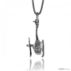 Sterling Silver Helicopter Pendant, 3/4 in Tall