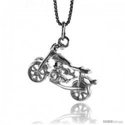 Sterling Silver Motorcycle Pendant, 3/4 in Tall
