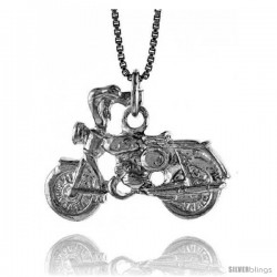 Sterling Silver Motorcycle Pendant, 3/4 in Tall -Style 4p778