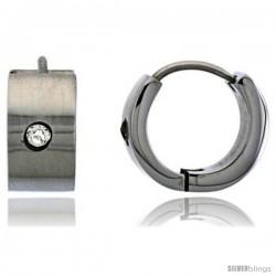 Stainless Steel Huggie Earrings w/ Cubic Zirconia Stone 1/2 in Diameter
