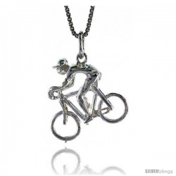 Sterling Silver Bicycle Pendant, 3/4 in Tall