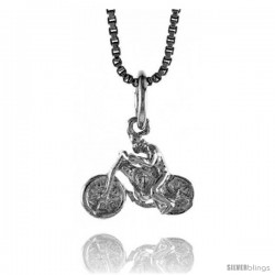 Sterling Silver Small Motorcycle Pendant, 5/16 in Tall