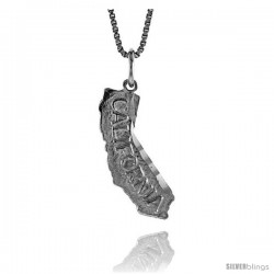 Sterling Silver State of California Map Pendant, 3/4 in Tall