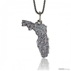 Sterling Silver State of Florida Map Pendant, 7/8 in Tall